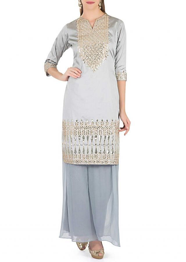 Grey Silk Top Adorned with Gotta Patch Work and Grey Georgette Palazzos only on Kalki