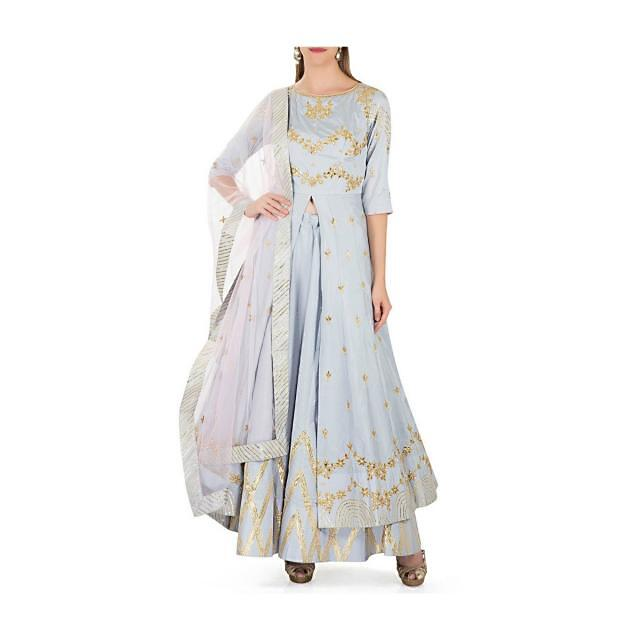 Grey Silk Top and Skirt Adorned with Gotta Patch Work, Moti Embroidery and Net Dupatta only on Kalki