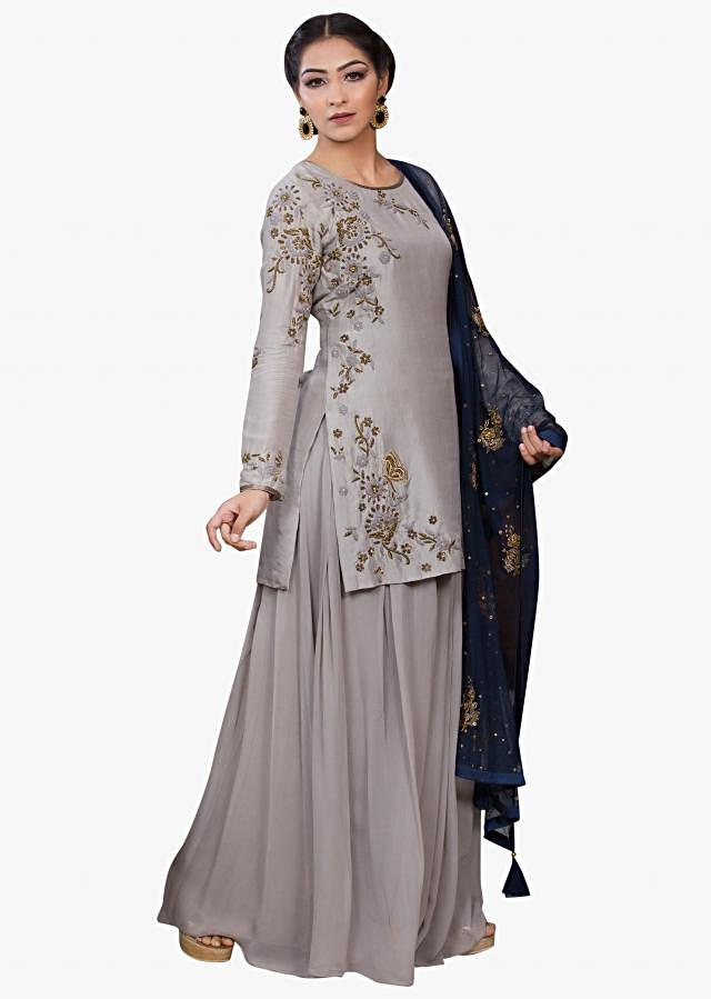 Grey straight palazzo suit featuring in cotton adorn in zardosi and zari work