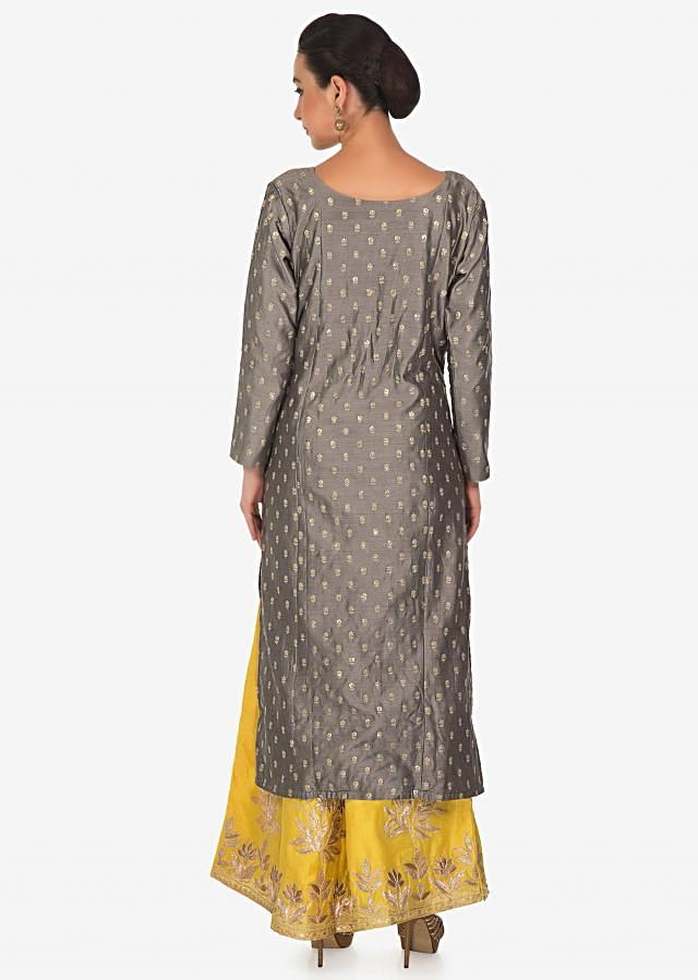 Grey straight top matched with embroidered palazzo pant only on Kalki