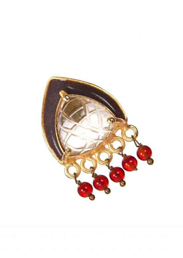 Grey Studded Earrings With Red Pearl Hangings only on Kalki