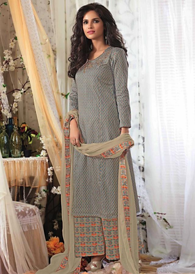 Grey unstitched printed suit with embroidered neckline only on Kalki