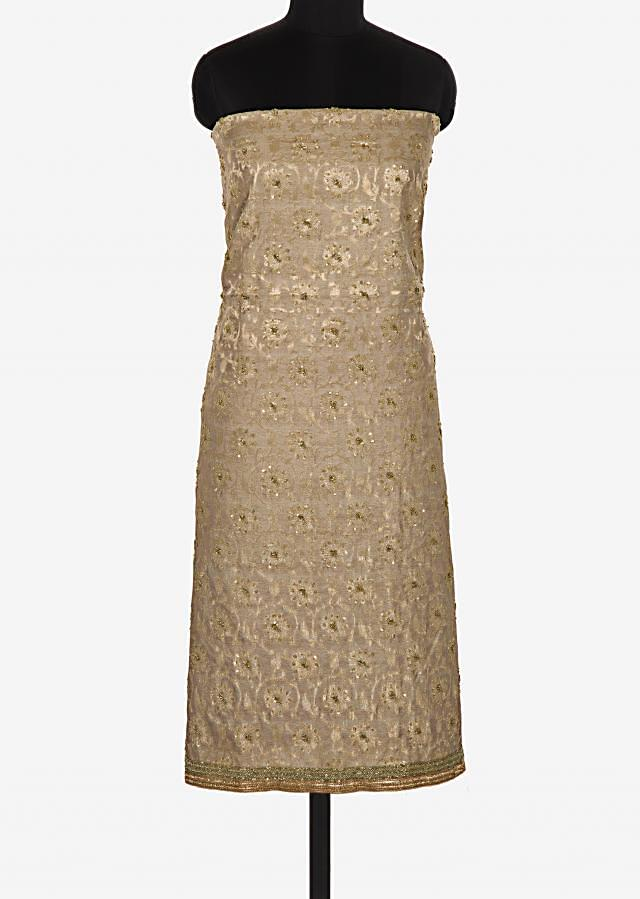 Grey unstitched suit in brocade silk crafted in sequin and cut dana embroidery work only on Kalki