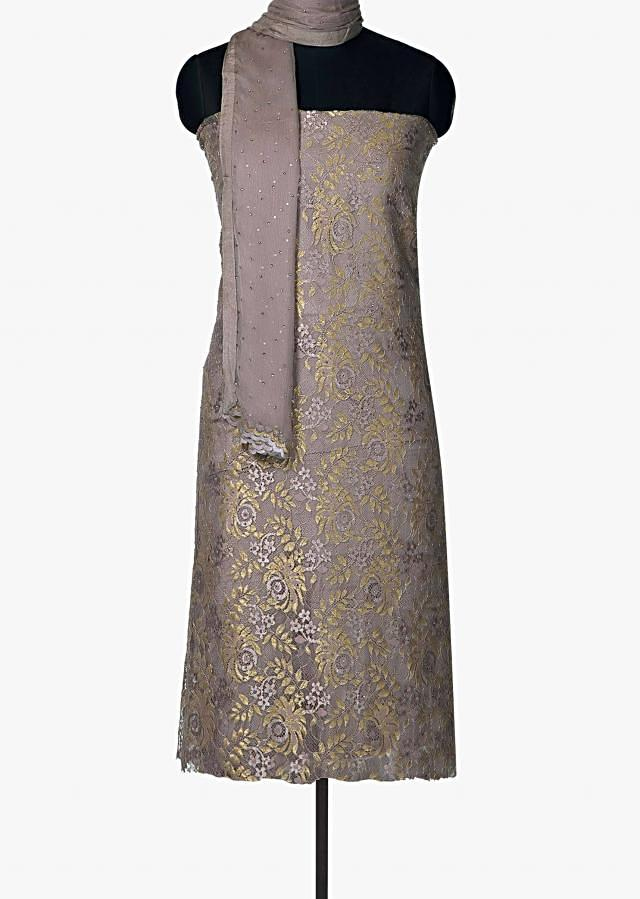 Grey unstitched suit in Chantilly lace with gold and silver weave only on Kalki