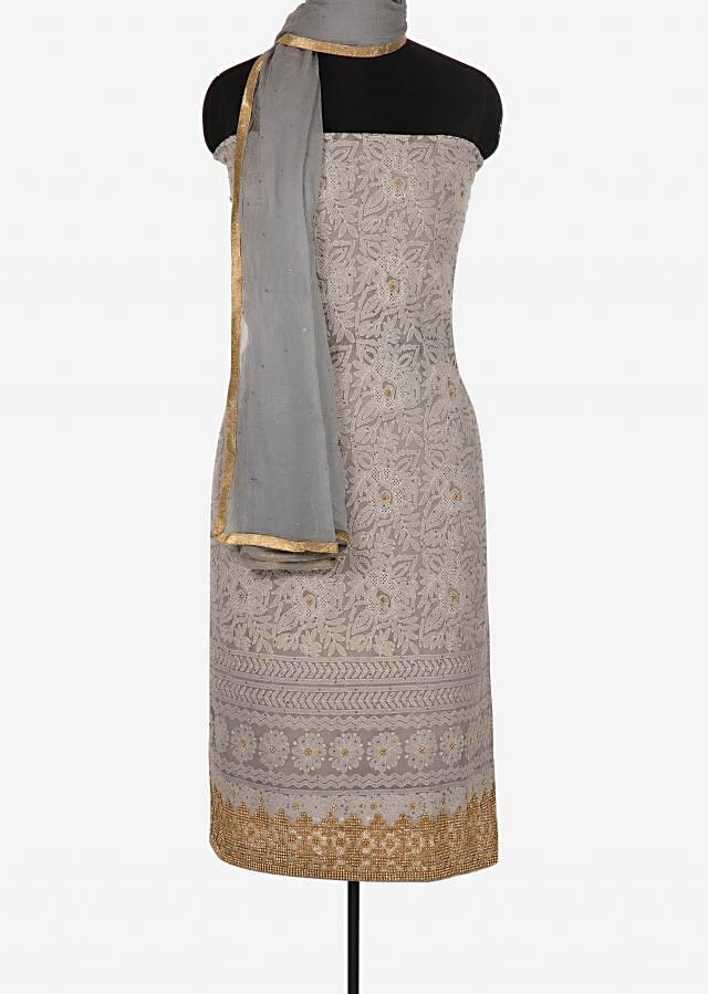 Grey unstitched suit in georgette crafted in cut dana and lucknowi thread work only on Kalki