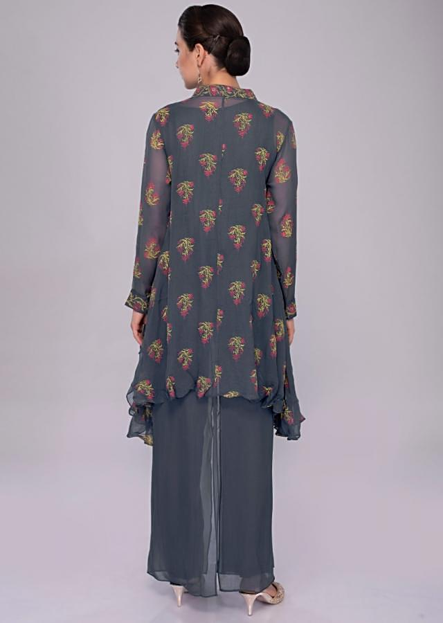 Greyish Blue Asymmetric Suit In Printed Georgette With Double Layer Palazzo Online - Kalki Fashion