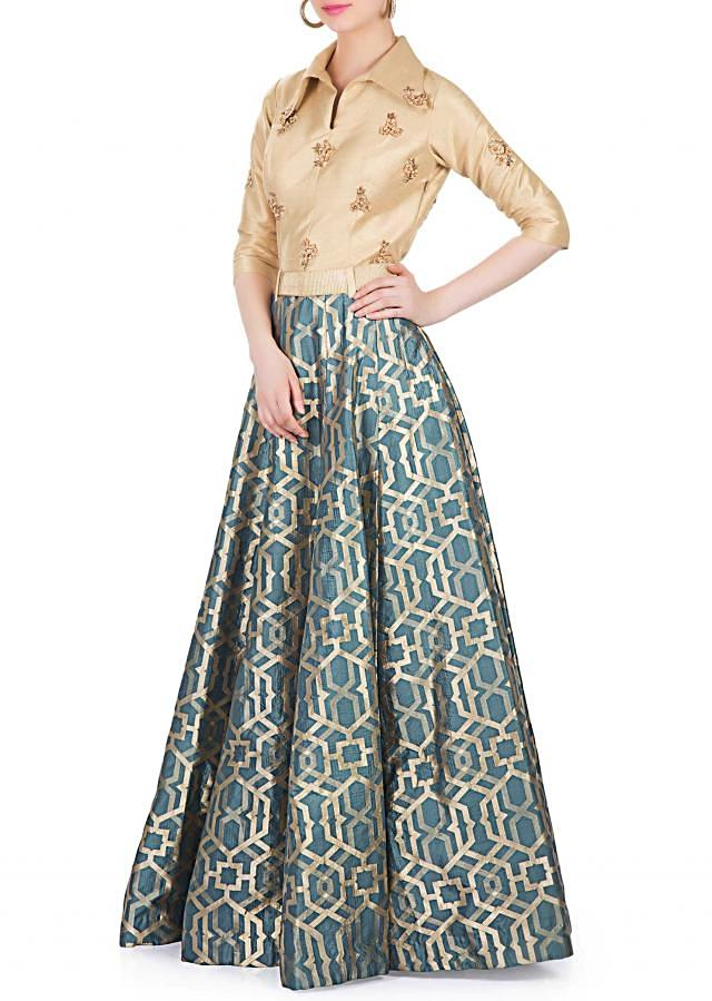 Greyish Blue Dola Silk suit with Embroidered Butti and Belt only on Kalki