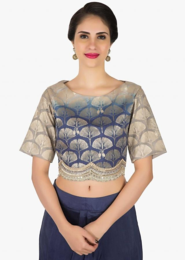 Greyish blue shaded dhoti suit enhanced in mirror and cut dana work only on Kalki