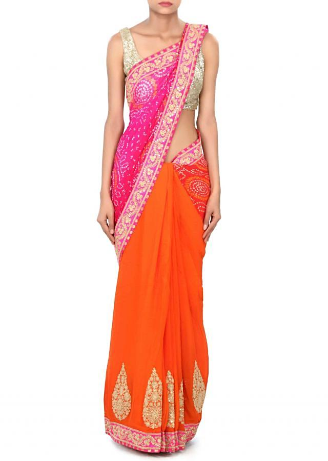 Half and half bandhani saree in pink and orange with zari and sequin embroidery only on Kalki