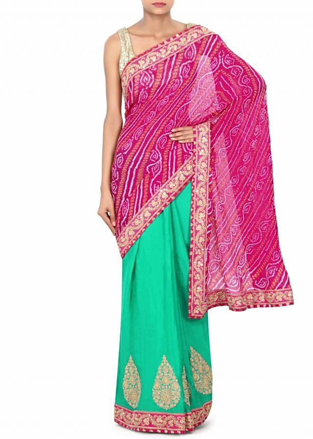 Half and half bandhani saree in pink and sea green with zari and sequin embroidery only on Kalki