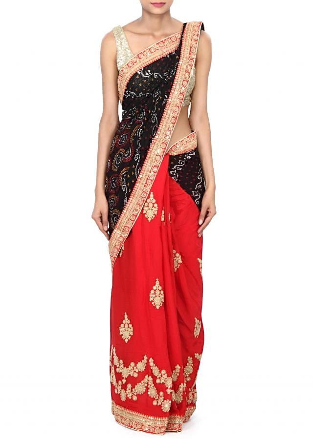 Half and half bandhani saree in red and black with zari and sequin embroidery only on Kalki