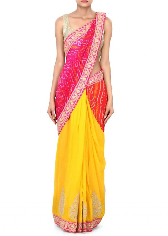 Half and half bandhani saree in red and yellow with zari and sequin embroidery only on Kalki