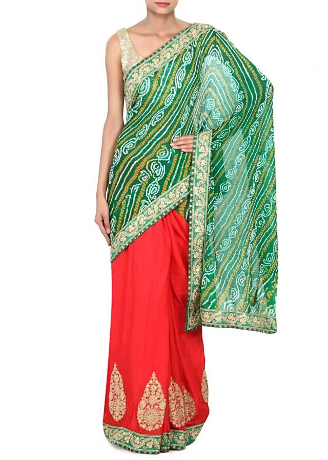 Half and half bandhani saree in red and green with zari and sequin embroidery only on Kalki