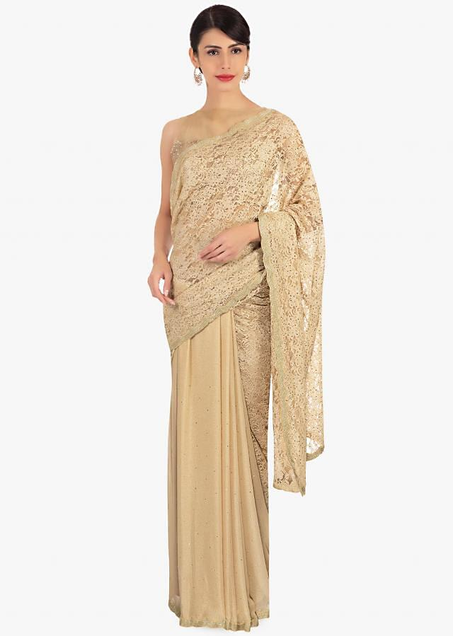 Half and half beige chantilly lace and chiffon saree only on Kalki