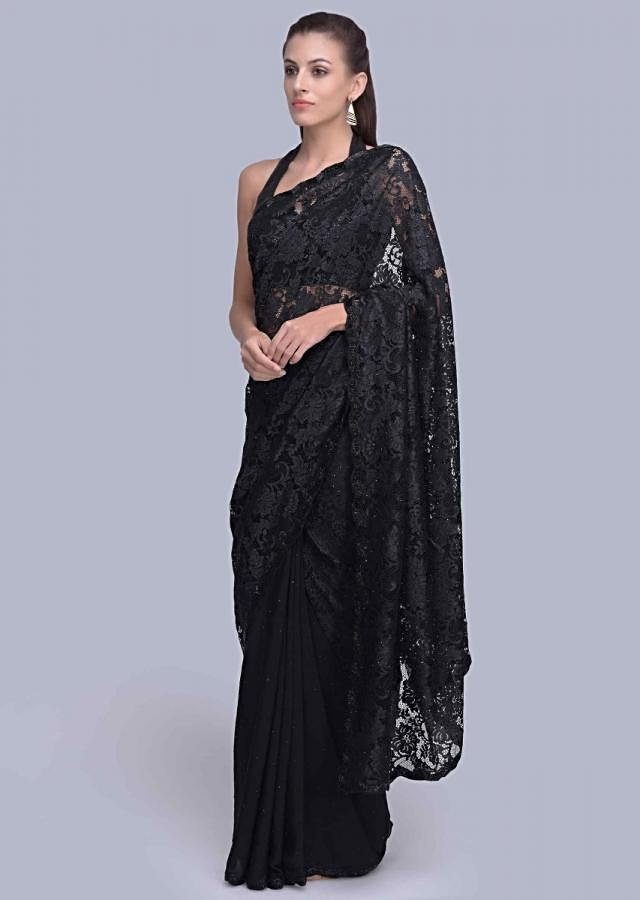 Half and half black saree featuring in georgette and chantilly  lace only on Kalki