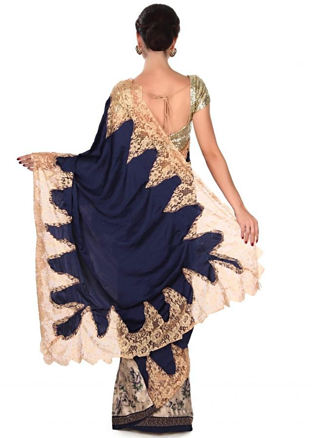 Half and half floral printed saree in cream and blue only on Kalki