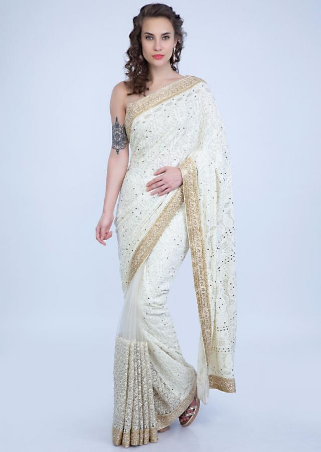 Half And Half Ivory Saree In Lucknowi Work And Net Online - Kalki Fashion