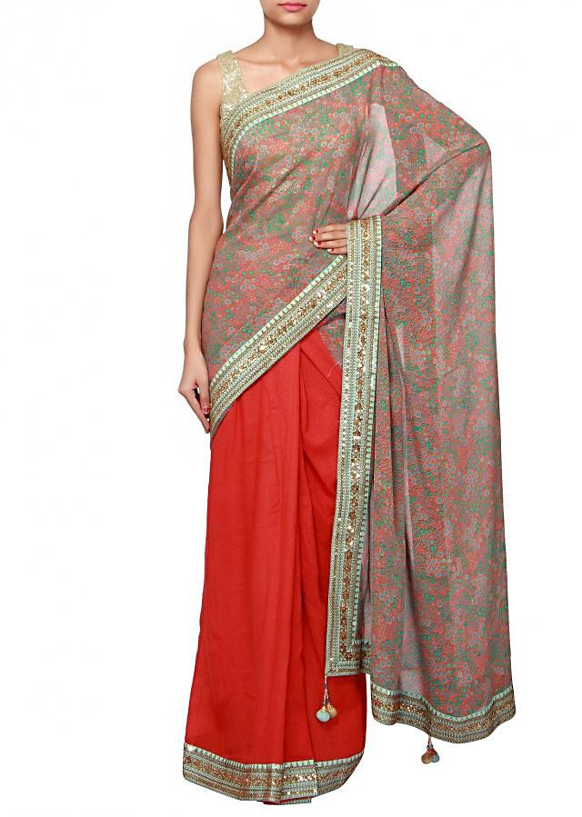 Half and half printed saree with sequin embellished border only on Kalki