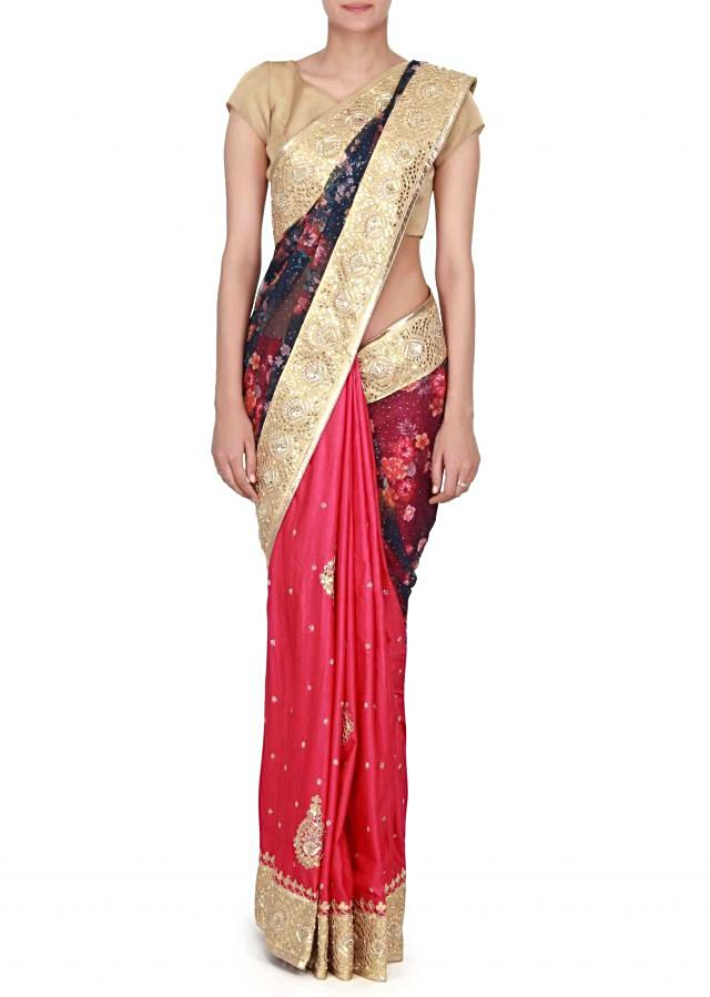 Half and half saree adorn in floral print and gotta work only on Kalki