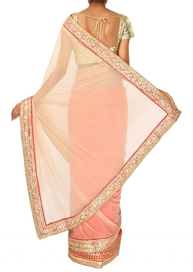 Half and half saree adorn in gotta and sequin border only on Kalki