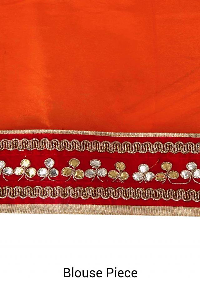 Half and half saree embellished in gotta patch embroidery only on Kalki