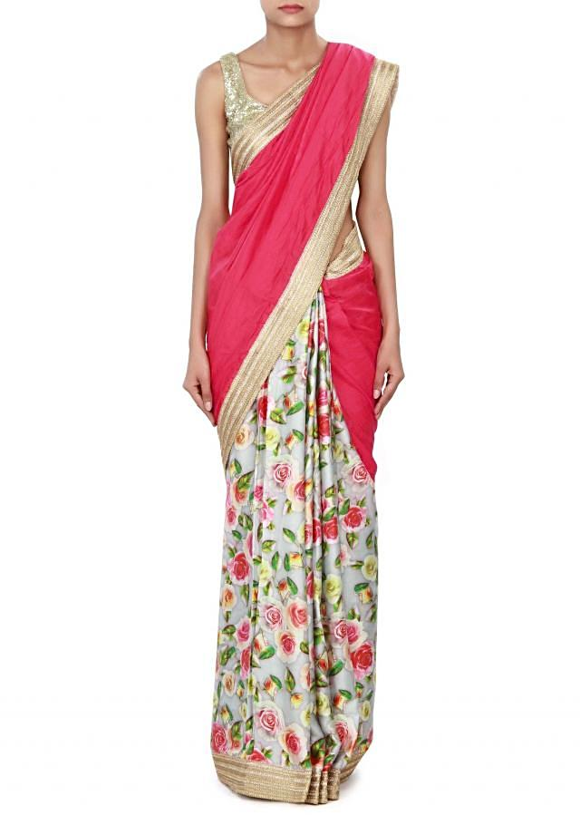 Half and half saree in pink and cream with zari border only on Kalki