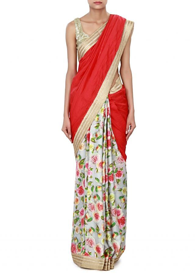 Half and half saree in red and cream with zari border only on Kalki