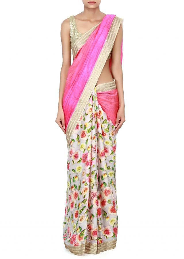 Half and half saree enhanced in print with zari border only on Kalki