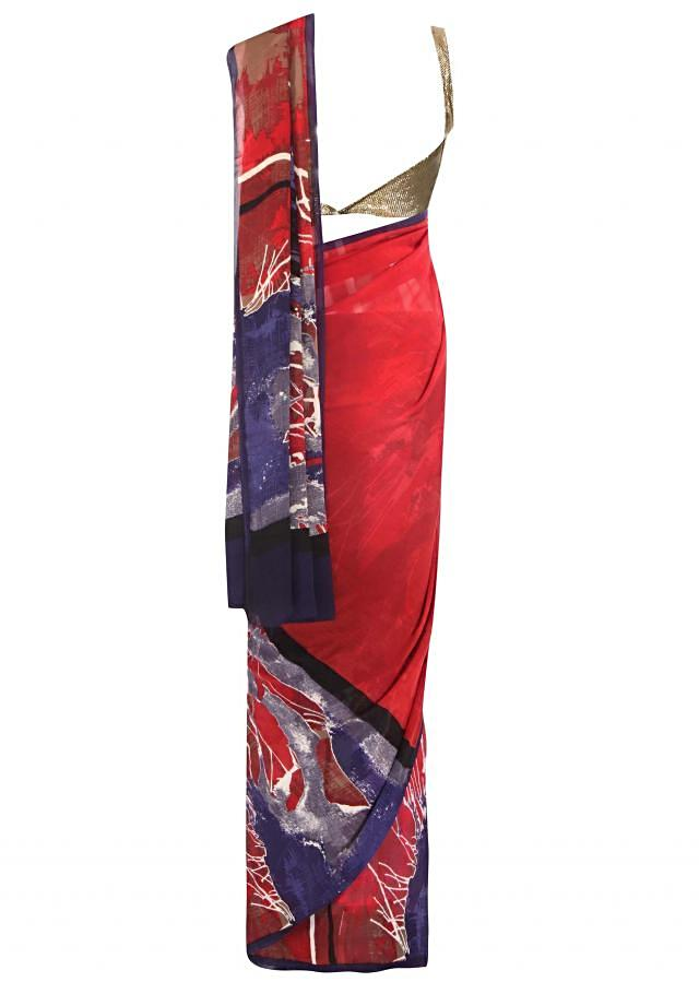 Half and half saree featuring with abstract print all over only on Kalki