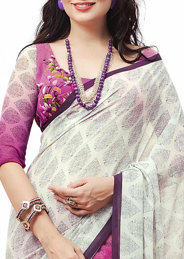 Half and half saree featuring with floral print