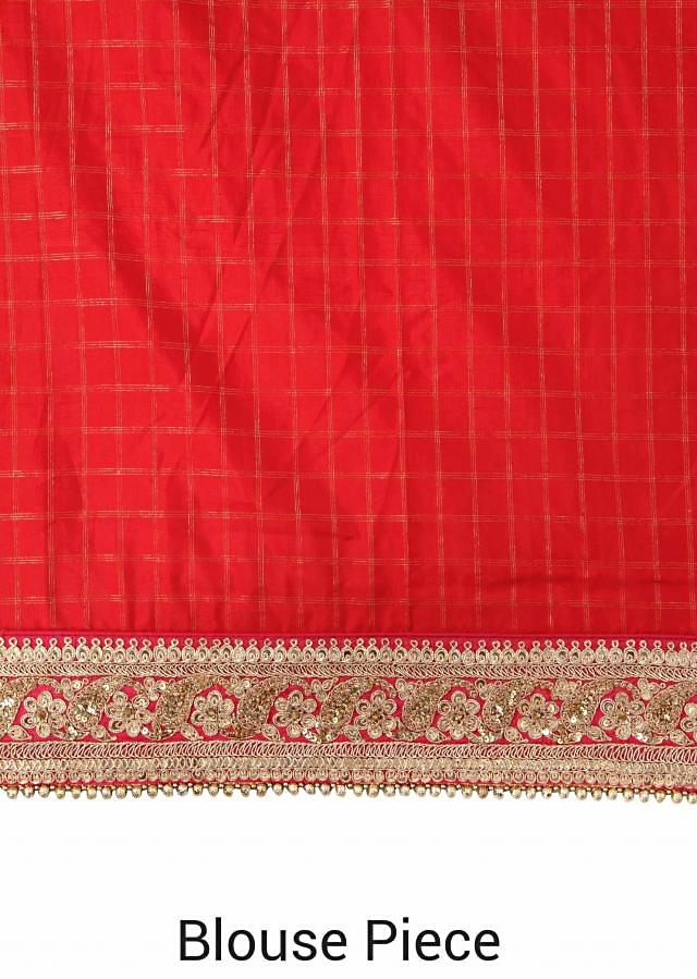 Half and half saree in bright red bandhani with embellished border only on Kalki