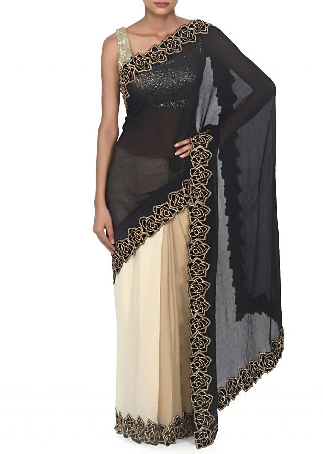 Half and half saree in beige and black with kundan embroidery only on Kalki