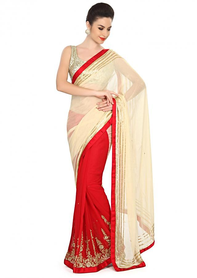 Half and half saree in beige and red embellished in kardana embroidery only on Kalki