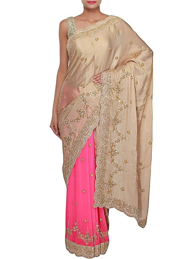 Half and half saree in beige and flossy pink adorn in pearl and kardana embroidery only on Kalki