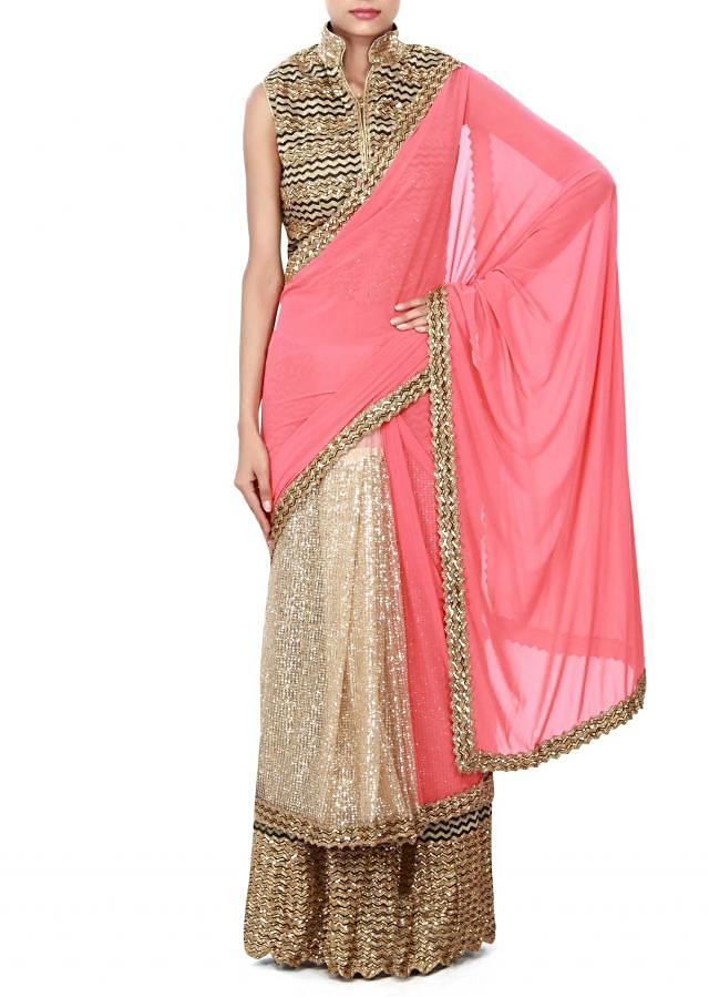 Half and half saree in beige and pink enhanced in sequin only on Kalki