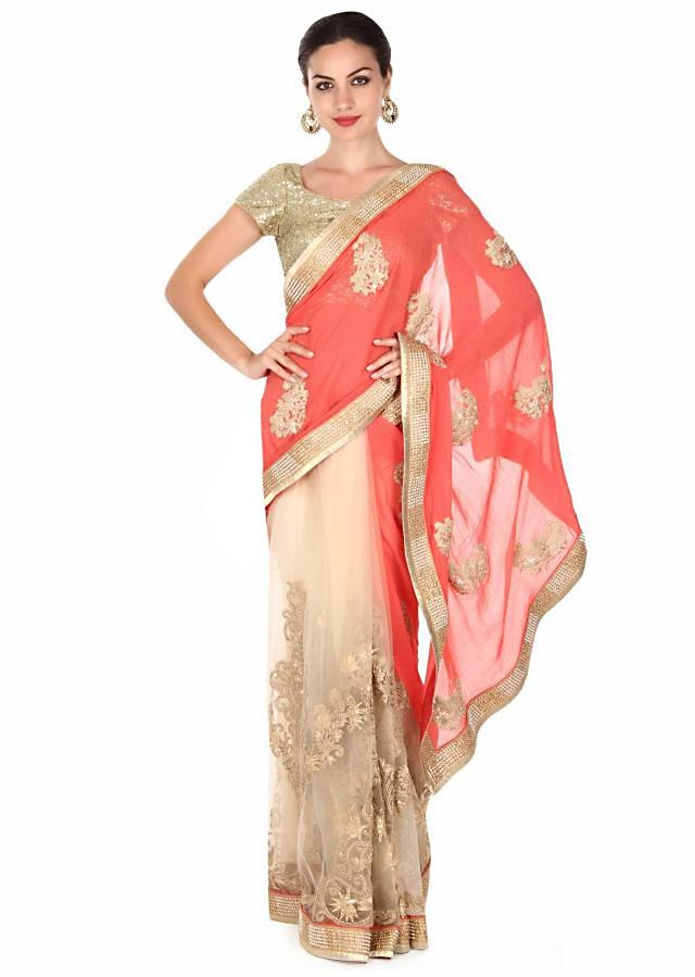 Half and half saree in coral and beige with zari work only on Kalki