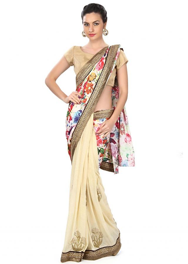 Half and half saree in cream with floral print and kundan border only on Kalki