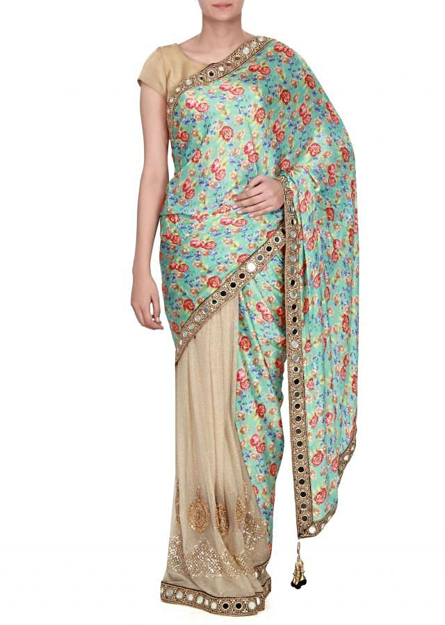 Half and half saree in floral print and mirror border only on Kalki