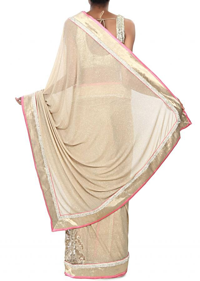 Half and half saree in gold and beige with zari and kundan embroidery only on Kalki