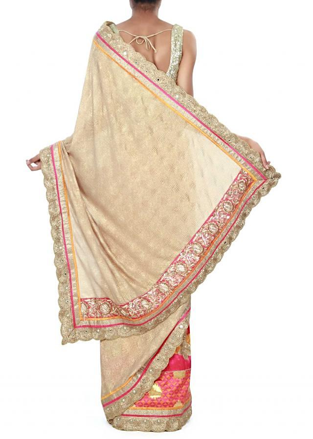 Half and half saree in gold and pink with brocade border only on Kalki