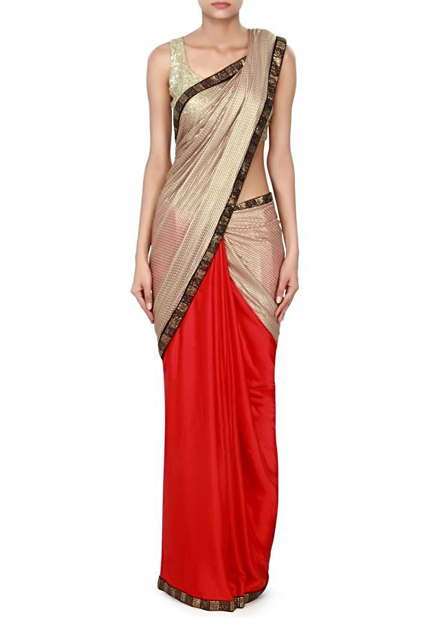 Half and half saree in gold and red with kundan embroidery only on Kalki