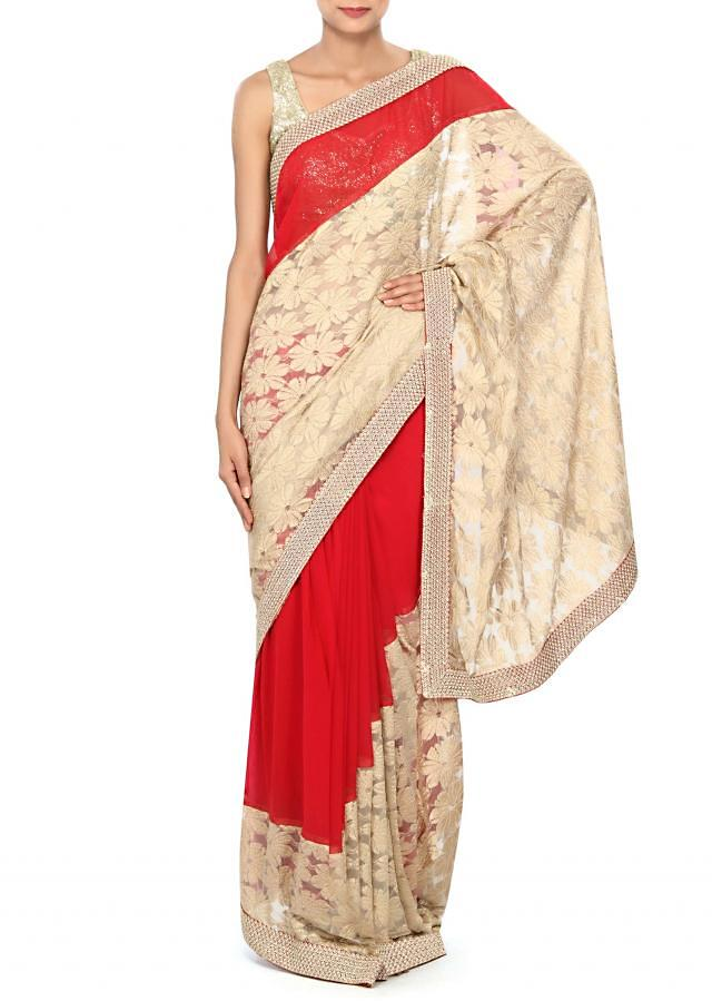 Half and half saree in gold and red with zari embroidery only on Kalki