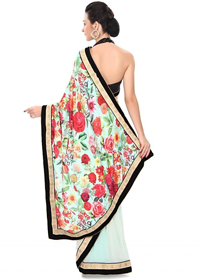 Half and half saree in green with floral print and kundan border only on Kalki