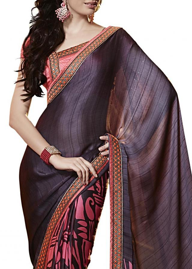 Half and half saree in grey and peach with paisely and abstract print
