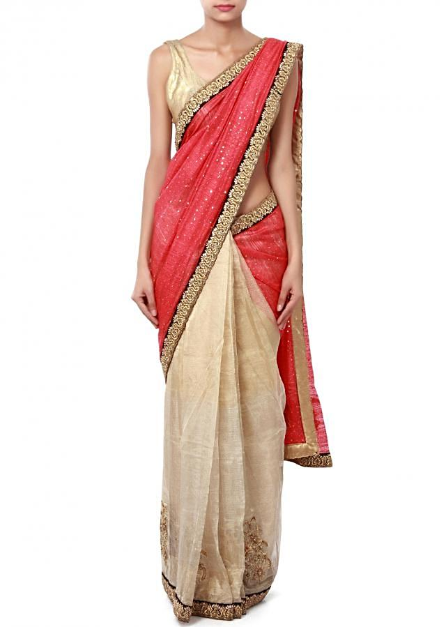 Half and half saree in maroon and beige adorn in sequin embroidered butti only on Kalki
