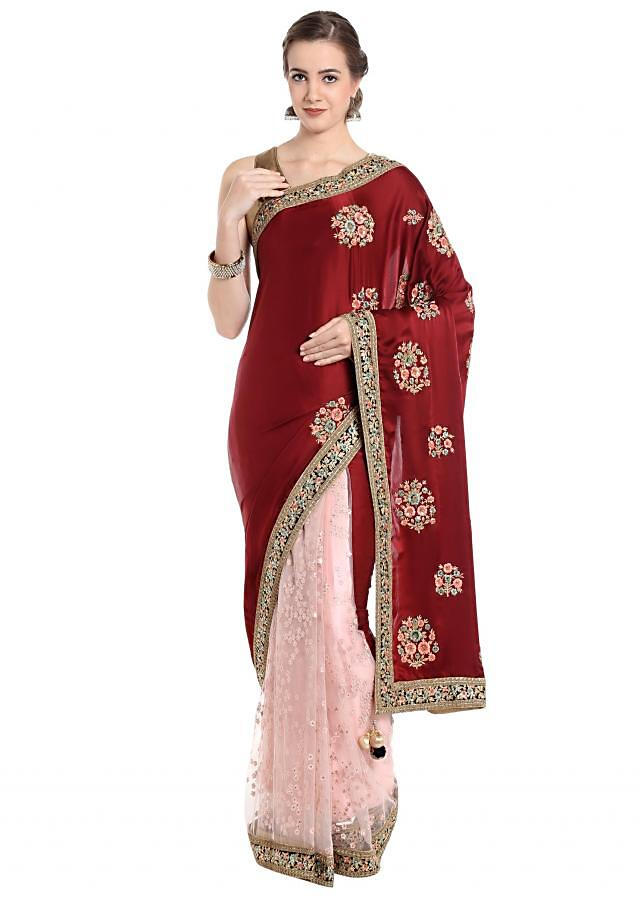 Half and half saree in maroon and pink with embroidered butti only on Kalki