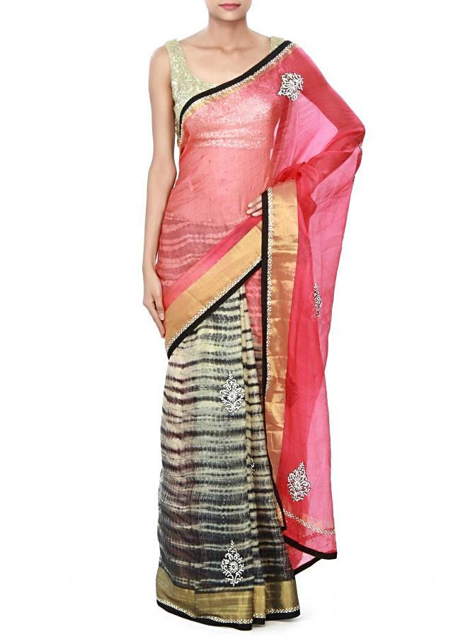 Half and half saree in orange and black with kundan embroidery only on Kalki