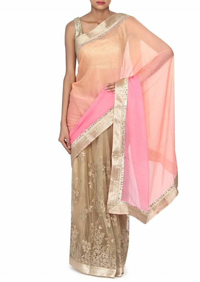 Half and half saree in peach and beige adorn in zari embroidery only on Kalki