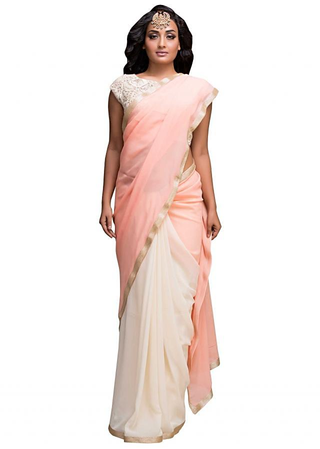 Half and half saree in peach and off white with embroidered blouse