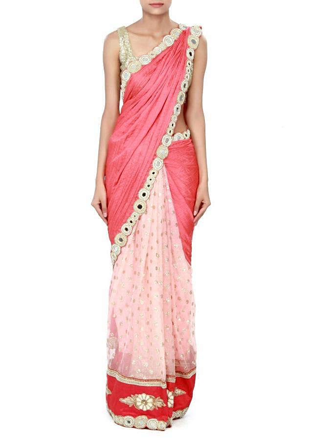 Half and half saree in peach with mirror embroidery only on Kalki